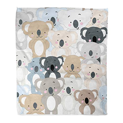 (Emvency Throw Blanket Warm Cozy Print Flannel Vintage Cute Koala Bear Blue Grey Pastel Baby Teddy Cartoon Animal Pattern Comfortable Soft for Bed Sofa and Couch 60x80 Inches)