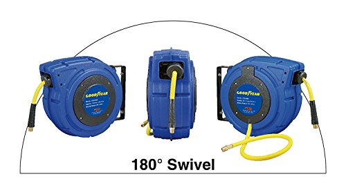 Goodyear 27527153G Enclosed Retractable Air Compressor/Water Hose Reel with 3/8 in. x 50 ft. Hybrid Polymer Hose, Max. 300PSI by Goodyear (Image #5)