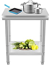 Happybuy NSF Stainless Steel Work Table for Commercial Kitchen Prep Work Table with Lower Shelf Work Table Silvery 24 x 24 inches 500 lb capacity