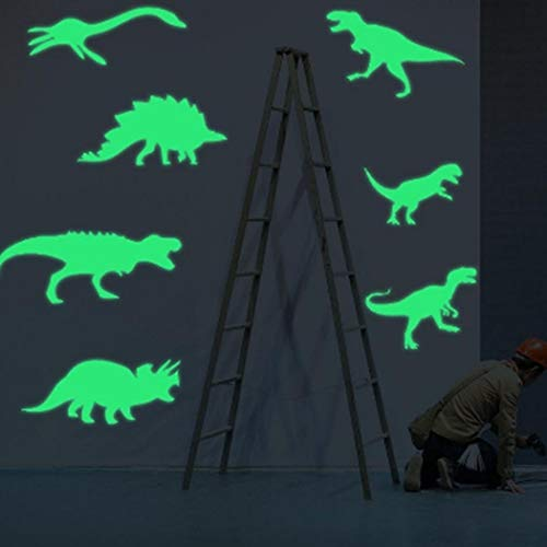 Benlet 9 Pcs/Bag Kids Room Removable 3D Luminous Dinosaur Wall Stickers Wall Stickers