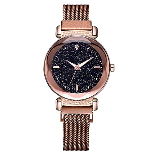 (Saying Ladies Timepiece Pocket Watch Starry Sky Dial Watch Diamond Quartz Bracelet Mesh Belt Lady Business Strap Watch Suitable For Wedding Parties Business Occasions (Brown))