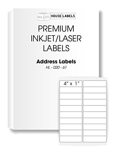 HouseLabels 400 Sheets; 8,000 Labels, 20-UP, Shipping/Mailing Labels (4.0 x 1.0) -- BPA Free!