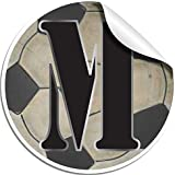 """Wall Letters """"M"""" Soccer Ball Letter Stickers Alphabet Initial Vinyl Sticker Kid Decals Children Room Decor Baby Nursery Boy Bedroom Decorations Child Names Personalized Decal Graphic Sports Balls Girl"""