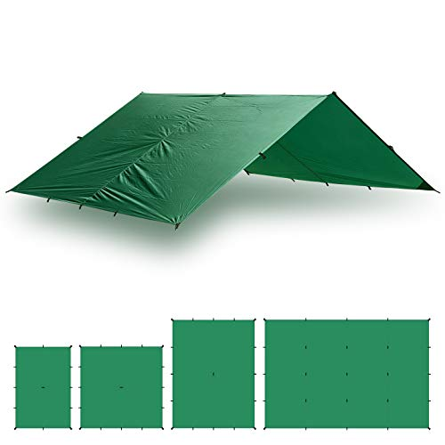 - Aqua Quest Guide Tarp Large 13 x 10 ft Green - Ultralight Waterproof Rip-Stop SIL Nylon Backpacking Rain Fly Shelter - 17 Tie Down Loops for Unlimited Set Up Options