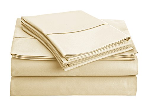 Chateau Home Collection 800-Thread-Count Egyptian Cotton Deep Pocket Sateen Weave Sheet Set (CALKING, Cameo)