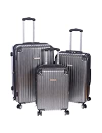 """Air Canada 3 Piece Spinner Set 20"""", 24"""" & 28"""" Lightweight Hardside Upright Luggage [ Charcoal ]"""