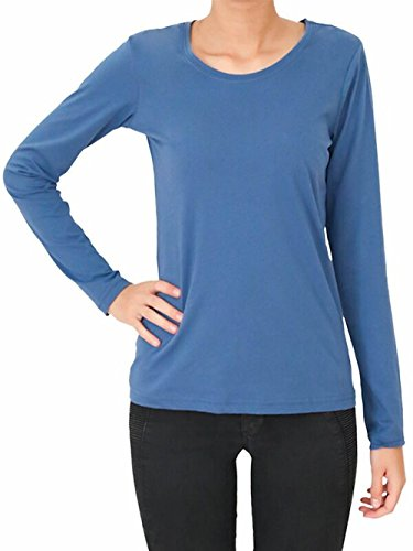 Enetal Natur&Damen - Camiseta - Manga Larga - Cuello redondo - para mujer Azul
