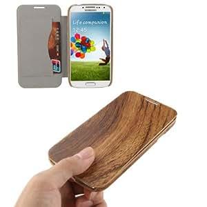 Rocina Wood Case - Funda cartuchera para Samsung Galaxy S4, marrón