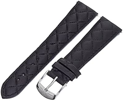 MICHELE MS20AB370001 20mm Leather Calfskin Black Watch Strap from MICHELE