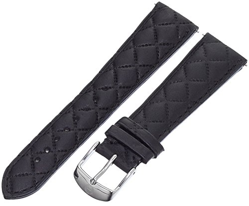 MICHELE MS20AB370001 20mm Leather Calfskin Black Watch Strap by MICHELE