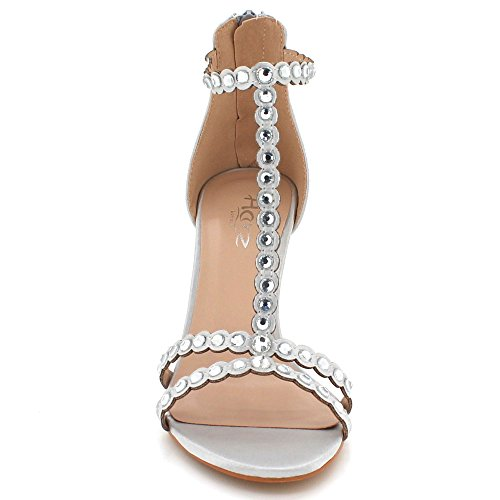AARZ LONDON Womens Ladies Crystal Diamante Evening Wedding Party Prom High Heel Zip Fastening Sandal Shoes Size Silver ySZOawOa