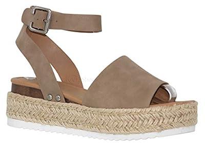 MVE Shoes Womens Stylish Forever Espadrilles Ankle Adjustable Platform Sandals