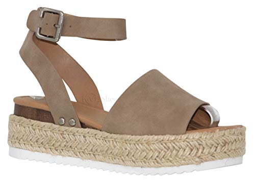 (MVE Shoes Women's Casual Peep Toe Ankle Strap Sandals - Cute Summer Espadrilles High Platforms - Comfort Wedges Saldals, Topic DK NAT 10)