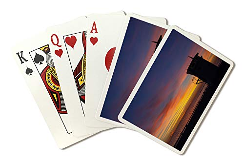 - Laguna, California-Lifegaurd Post Sunset-Photography A-92944 (Playing Card Deck - 52 Card Poker Size with Jokers)