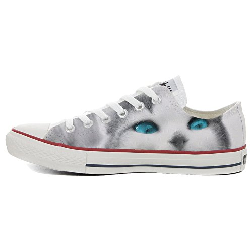 Converse All Star Customized - zapatos personalizados (Producto Artesano) Slim Cat with sky eyes