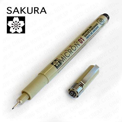 Sakura Pigma Micron 01 - Pigment Fineliners - 0.25mm - Black [Pack of 3]