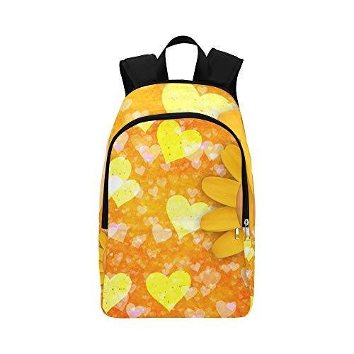 YUMOING Heart Love Valentines Day Logo Concept Sunflower Casual Daypack Travel Bag College School Backpack For Mens And Women