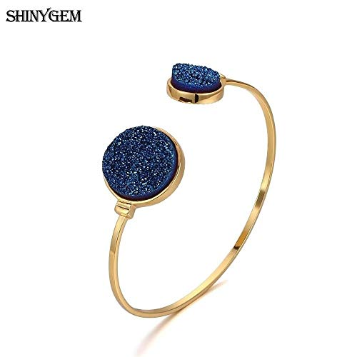 Big Stone Bangle Bracelet | Gold Plating Open Cuff Bangles for Women | Adjustable Antique Round Natural Stone Bangles (Blue) ()