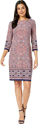 London Times Women's 3/4 Sleeve Printed Shift Coral/Navy 8 -