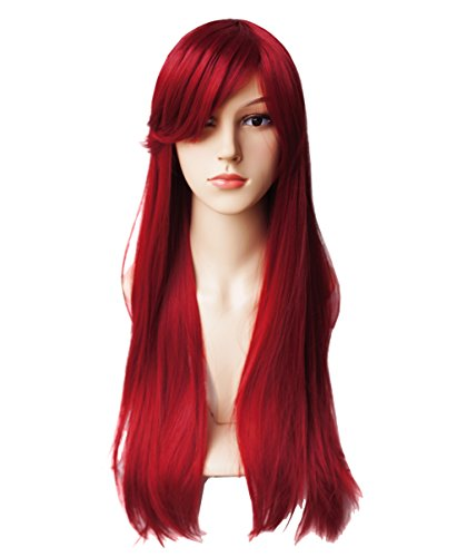 Another Me Women's 27.5 Inches Long Straight Dark Wine Red Hair Wig with Bangs Ultra Soft Heat Resistant Fiber Cosplay Party Accessories]()