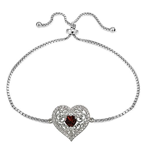 Sterling Silver Genuine Garnet and White Topaz Filigree Heart Adjustable Bracelet ()