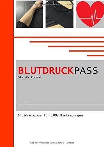 Blutdruckpass DIN A5 Format  Blutdruckpass Fuer 1092 Eintragungen