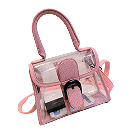 Top Shop Womens Handle Cross-body Tote Bag Transparent Beach Handbag Shoulder Messenger Pink Bags
