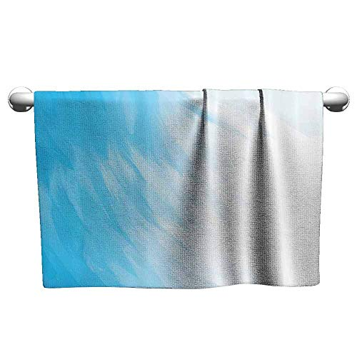 Mannwarehouse Abstract Home Decor Soft Superfine Fiber Bath Towel Abstract Artwork in Watercolor Painting Style Waves Cloudy Sky Contemporary Design W10 x L39 Blue White