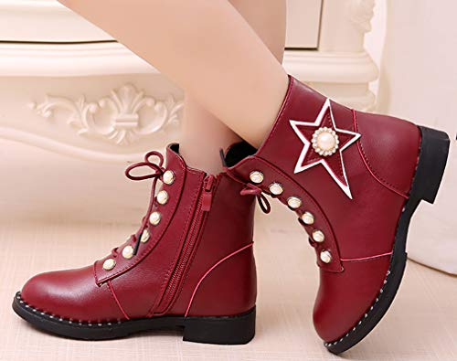 VECJUNIA Girl's Martin Boots with Pearls Stars Ankle High Side Zipper School (Wine Red, 11.5 M US Little Kid) by VECJUNIA (Image #2)