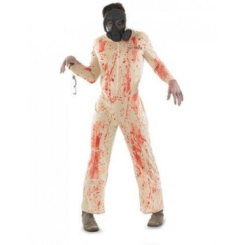 Mens Dead Zombie Prisoner & Gas Mask Halloween Fancy Dress Costume Outfit M L XL (Medium) -
