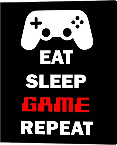 Eat Sleep Game Repeat - Black by Color Me Happy Canvas Art Wall Picture, Gallery
