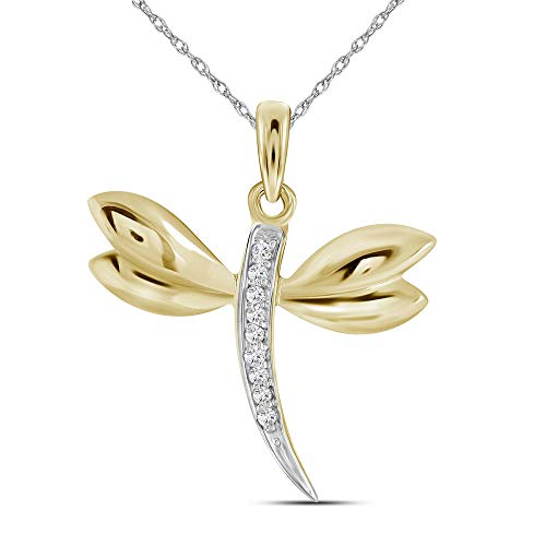 Jewels By Lux 10k Yellow Gold Diamond-accented Dragonfly Womens Winged Bug Insect Charm Pendant .03 Cttw In Prong Setting (I2-I3 clarity; J-K - Gold Pendant 10k Dragonfly