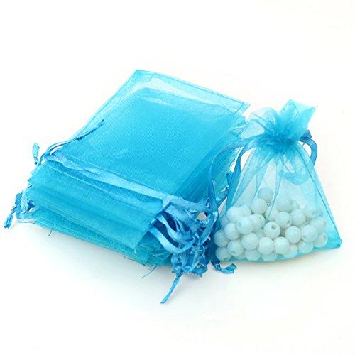 AKStore 100Pcs 2.8'x3.6'(7x9cm)Sheer Drawstring Organza Jewelry Pouches Wedding Party Christmas Favor Gift Bags (Light blue)