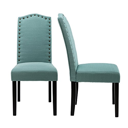 LSSBOUGHT Set of 2 Luxurious Fabric Dining Chairs with Copper Nails and Solid Wood Legs (Laguna)