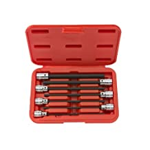 TEKTON 1362 3/8-Inch Drive Extra Long Hex Bit Socket Set, Inch, 1/8-Inch - 3/8-Inch, 7-Sockets