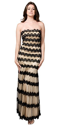 Terani Prom Pageant Dress - TwinMod Sheer Lace Strapless Mermaid Prom Formal Bridesmaid Dress (4, GOLD)