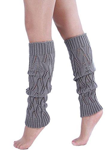Crochet Clair Z Chaussettes Gris Boot Knit Jambière Femme Hiver Poignets Hautes Jelinda xInqw4Z4