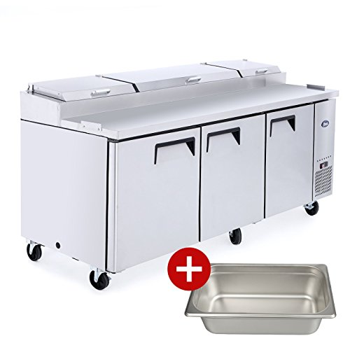 Commercial Pizza Prep Table Refrigerator,ATOSA Commercial Large Stainless Steel 3 door Pizza Prep Table MPF8203 Refrigerator For Restaurant Kitchen 26Cu.Ft. 93W33D40.7H 33℉-38℉ (Best 26 Cu Ft Refrigerator)