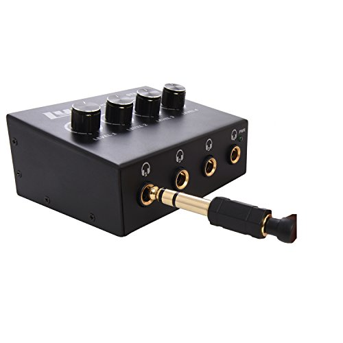 "LyxPro STP10 Compact 4 Channel Headphone Amplifier 1/4"" and 3.5mm (Mini 1/8"") Stereo Mono & RCA Inputs, Clean Amplifier Circuit, Power On LED, for Home & Studio"