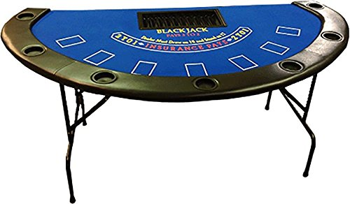 71'' Blackjack Table with Folding Legs (Blue Felt) -