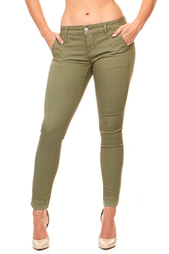 V.I.P. JEANS Women's  Cute Slant Pocket Skinny Pant Trousers Work Casual Plus, Olive Green, ()