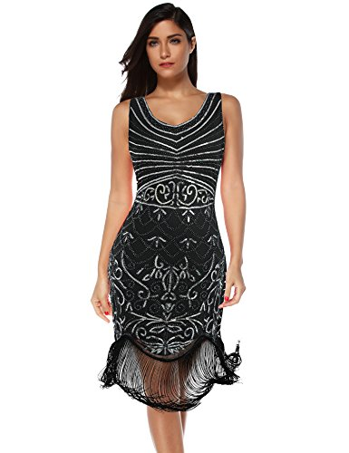 Women's Flapper Vintage Dresses 1920s Beaded Fringed Great Gatsby Dress (Black Silver, XXL) -