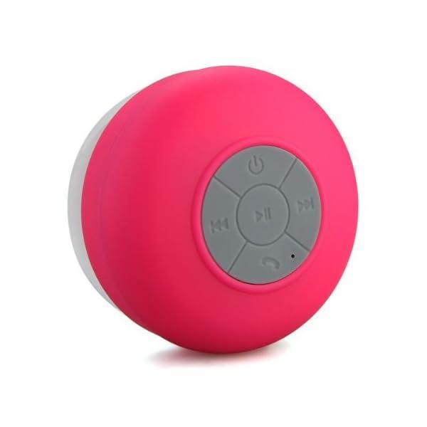 Memteq - Enceinte haut-parleur étanche Bluetooth, à ventouse, pour téléphone portable fuchsia 1