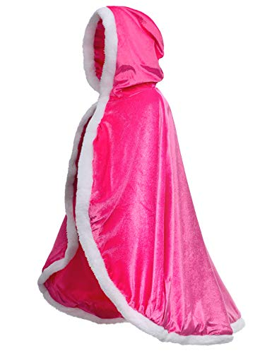 Fur Princess Aurora Cape Fur Hooded Cloaks Costume for Girls Dress Up Pink 8-10 Years(140cm) -