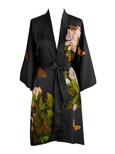 Silk Butterfly Robe - Old Shanghai Women's Kimono Robe Short - Watercolor Floral (Peony & Butterfly- Black)