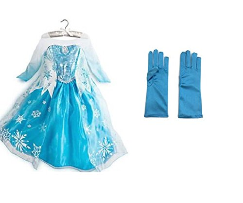 [Rush Dance Princess Queen Elsa Snow Snowflake Dress Costume Cosplay with Gloves (5T-6T (120),] (Princess Jasmine Costumes Tiara)
