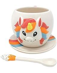 TMR Global Unicorn mug 3D Unicorn Mug (11 oz) with Rainbow Plate and Cup Cake Spoon (11 OZ, Ace design)