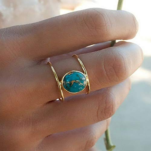 Monowi Women 18K Gold Fil Huge Turquoise Ring Wedding Anniversary Gift Size 6-10 | Model RNG - 7260 | 7 ()