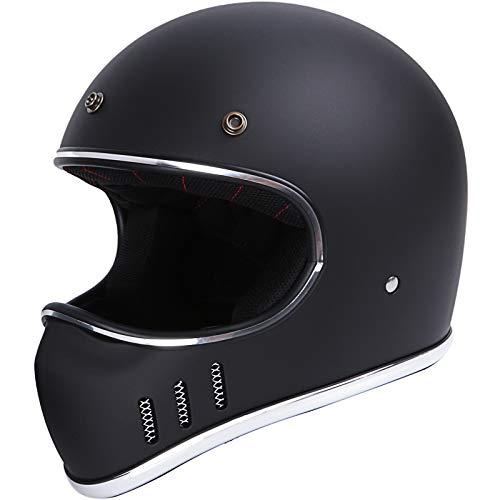 Retro Off-Road Helmet DOT ATV UTV Motocross Dirt Bike (Matte Black, Medium)