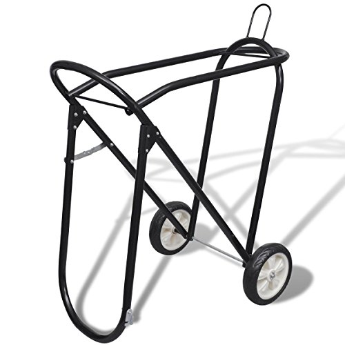 (Saddle Stand with Wheels Rolling Tack Rack Collapsible Steel Foldable Saddle Rack with Wheels)